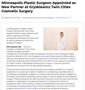Dr Karan Chopra Joins Gryskiewicz Twin Cities Cosmetic Surgery